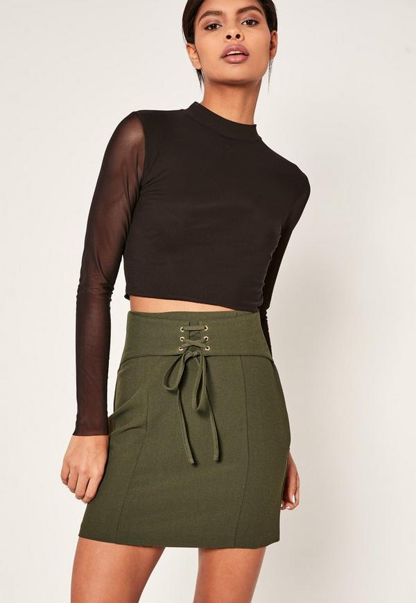 Khaki Belted Eyelet Detail Mini Skirt