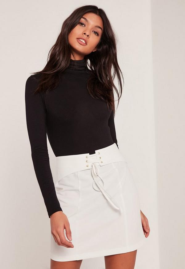 White Belted Eyelet Detail Mini Skirt