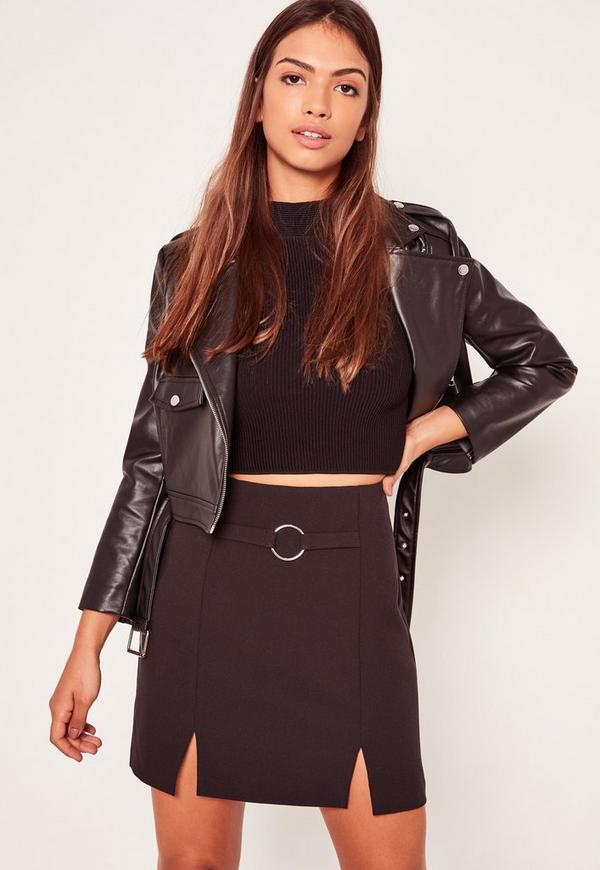Black Circular Ring Front Crepe Split Hem Mini Skirt
