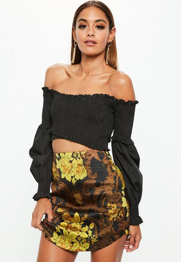 Curved Hem Jacquard Mini Skirt Yellow
