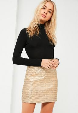 Gold Aztec Jacquard Mini Skirt