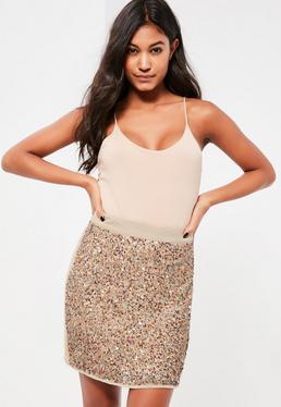 Gold Multi Sequin Front Mini Skirt