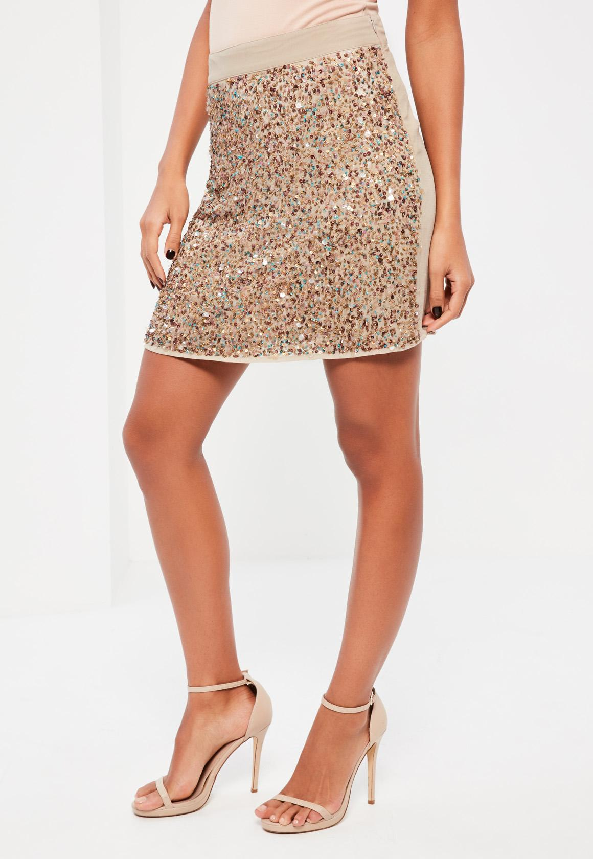 9722a8edbc Missguided Gold Multi Sequin Front Mini Skirt at £16 | love the brands