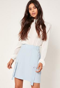 Blue Parachute Detail Crepe Mini Skirt