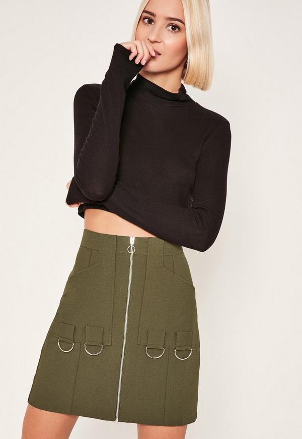 Khaki Zip Through Ring Detail Crepe Skirt