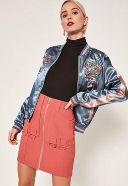 Pink Zip Through Ring Detail Crepe Skirt