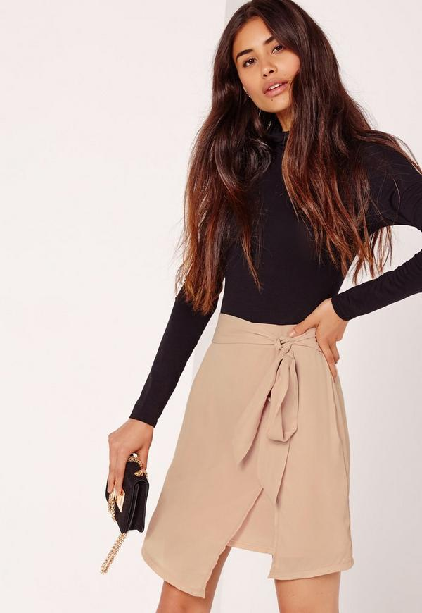Asymmetric Hem Tie Waist Mini Skirt Nude