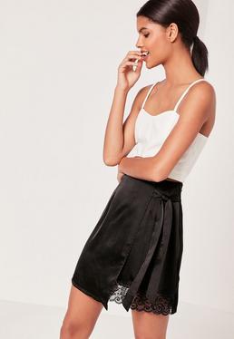 Satin Wrap Asymmetric Hem Lace Mini Skirt Black
