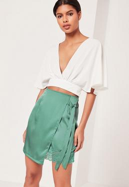 Satin Wrap Asymmetric Hem Lace Mini Skirt Green