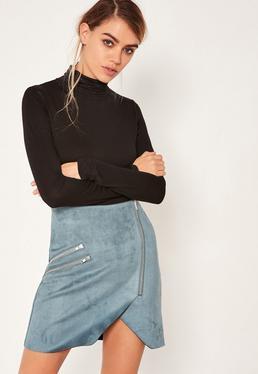 Blue Faux Suede Zip Detail Asymmetric Skirt