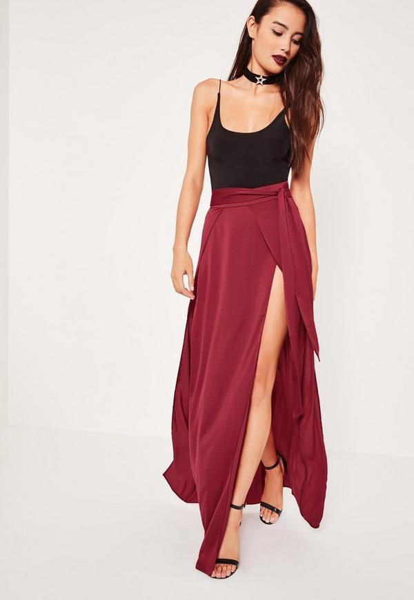 Red Layered Satin Double Split Maxi Skirt