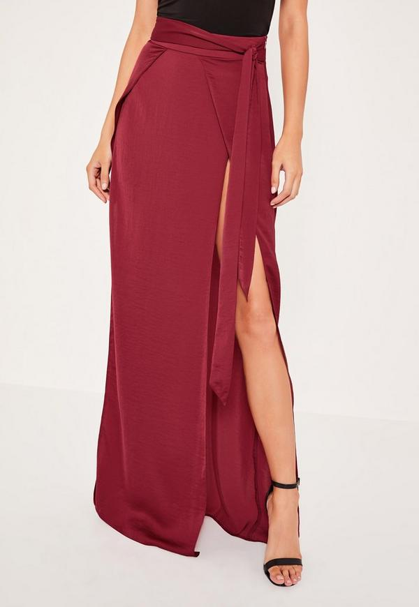 layered satin split maxi skirt missguided