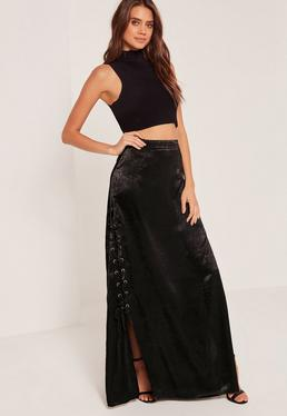 Eyelet Lace Up Satin Maxi Skirt Black