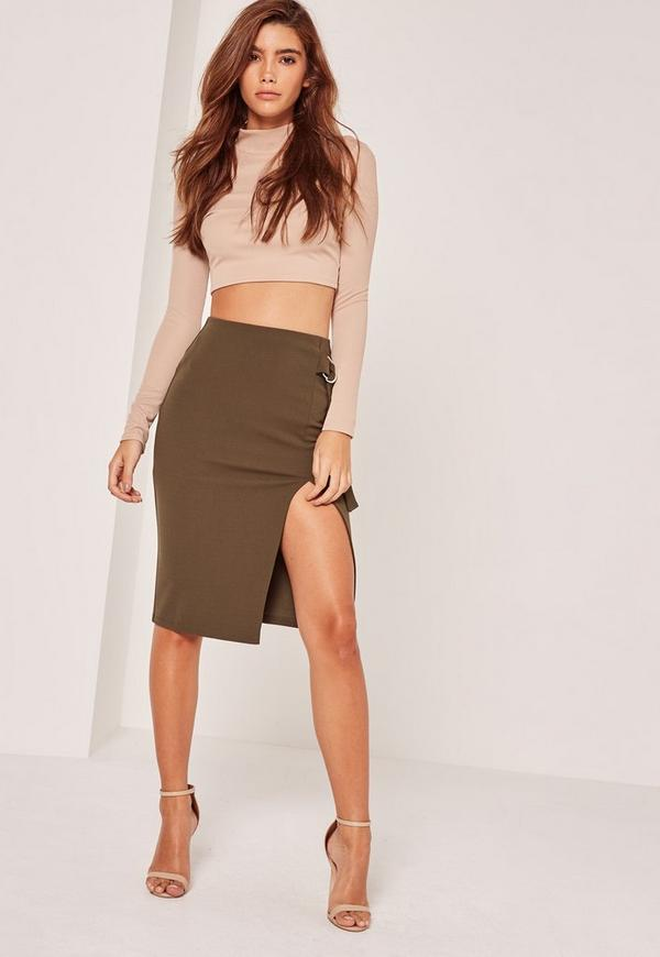 Split Front D Ring Midi Skirt Khaki