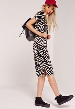Zebra Crinkle Midi Skirt Black