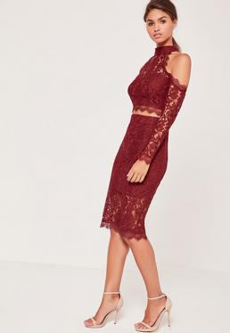 Half Sheer Lace Midi Skirt Burgundy