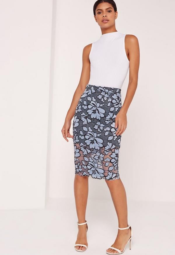 Contrast Floral Lace Midi Skirt Blue