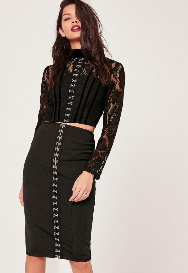 Premium Bandage Hook and Eye Midi Skirt Co Ord Black