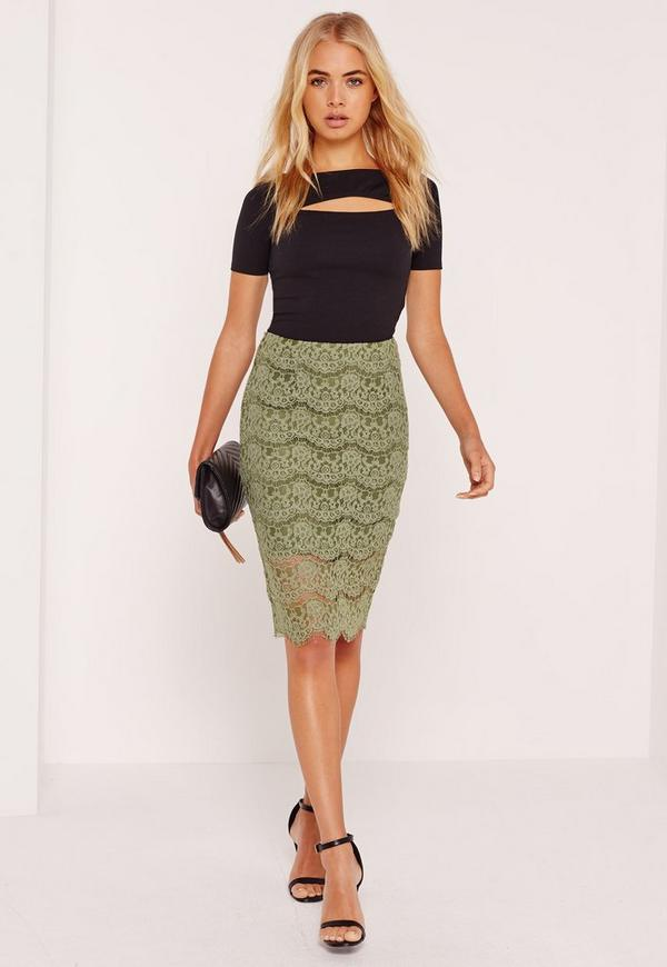 Corded Lace Midi Skirt Green