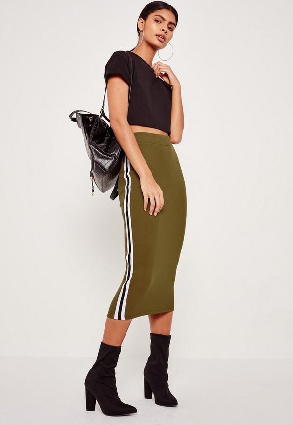 Rib Side Stripe Midi Skirt Khaki