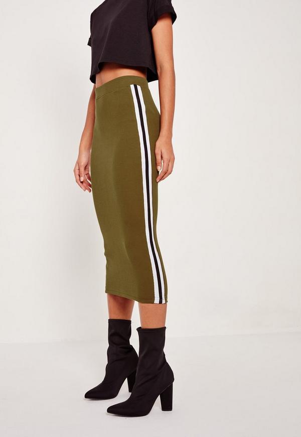 rib side stripe midi skirt khaki missguided