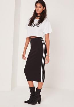 Ribbed Side Stripe Midi Skirt Black