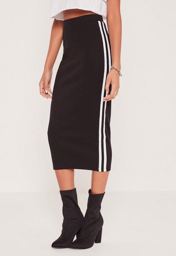 ribbed side stripe midi skirt black missguided