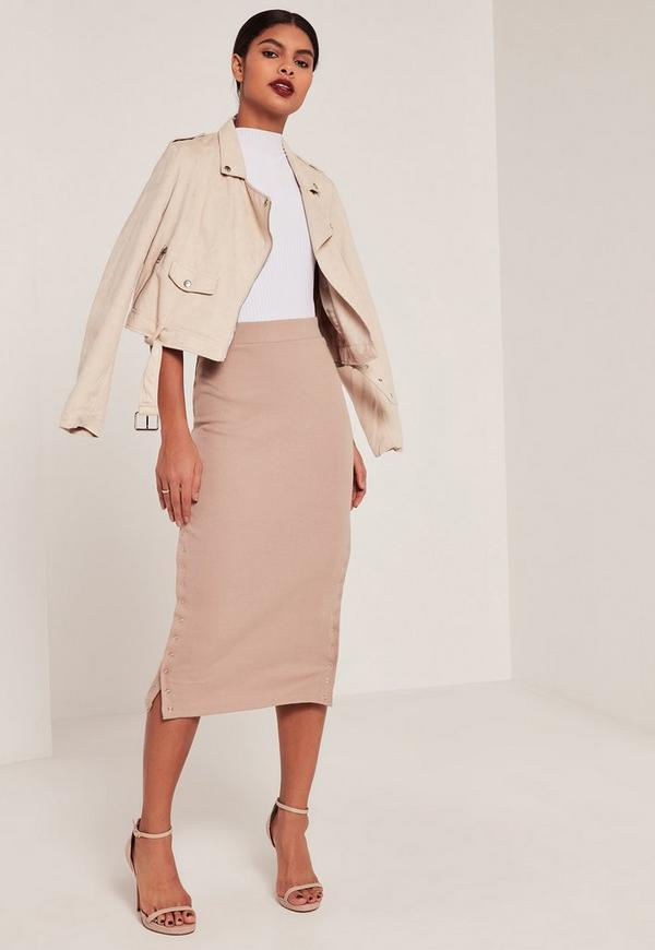 Pink Double Popper Ribbed Midi Skirt