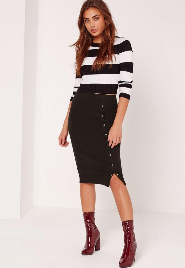 Popper Side Ribbed Midi Skirt Black
