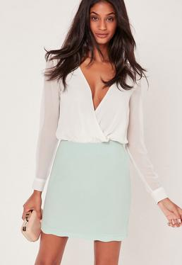 Scallop Hem Crepe Mini Skirt Green