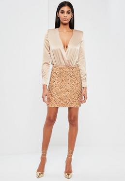 Mini-jupe dorée ornementée Peace + Love