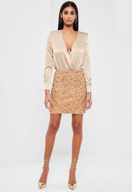 Peace + Love Gold Embellished Mini Skirt