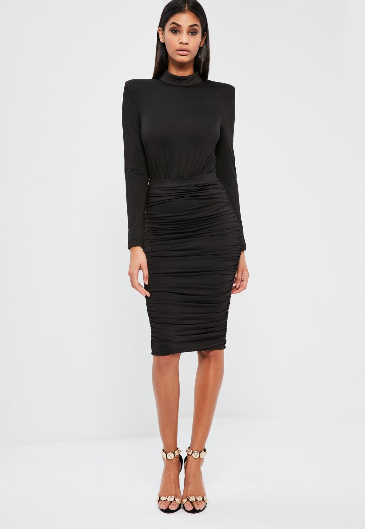 Peace + Love Black Ruched Midi Skirt | Missguided Ireland