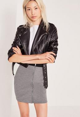 Zip Front Mini Elastic Waist Skirt Grey