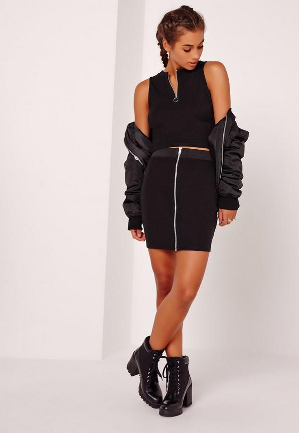 Zip Front Mini Elastic Waist Skirt Black