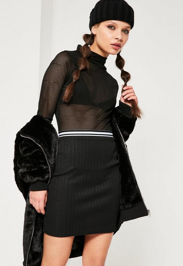 Ribbed Monochrome Mini Stripe Waist Skirt Black