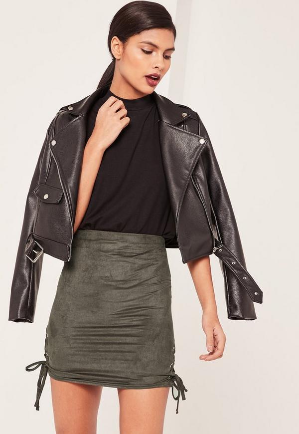 Khaki Faux Suede Lace Up Side Mini Skirt