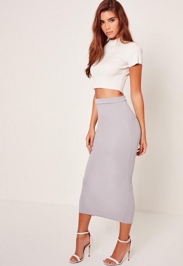 Crepe Midi Pencil Skirt Grey