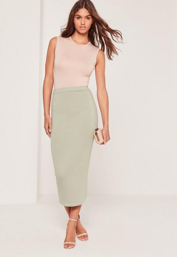 Longline Jersey Midi Skirt Green