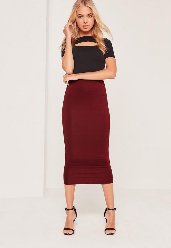 Longline Jersey Midi Skirt Burgundy | Missguided