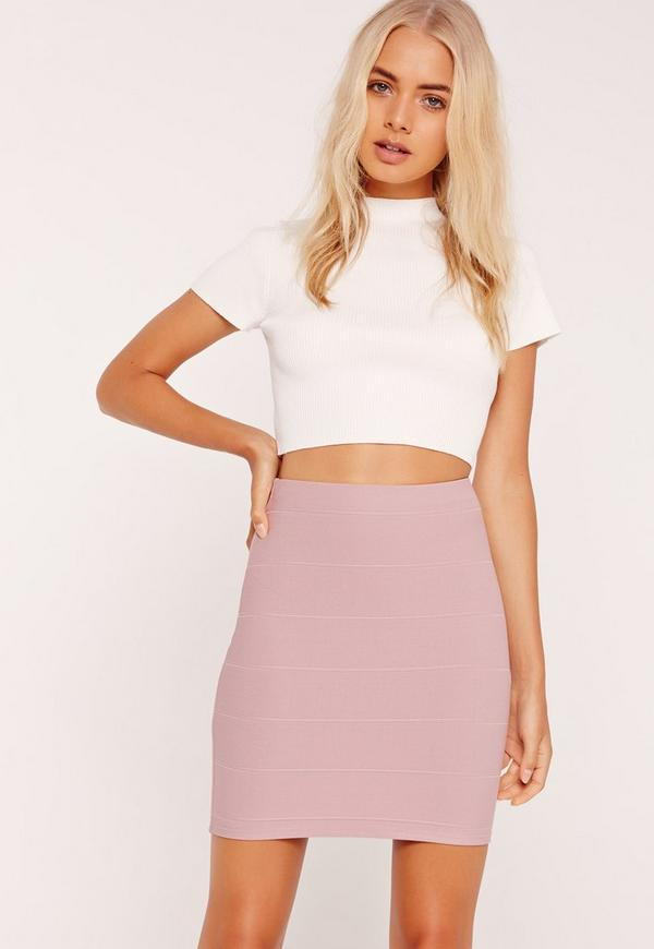 Bandage Bodycon Mini Skirt Purple
