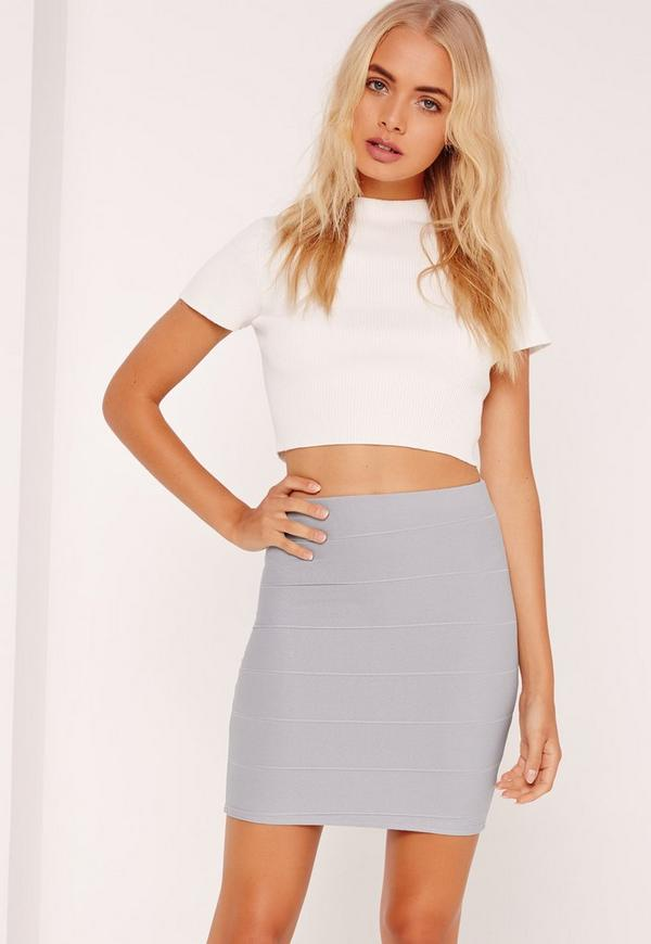 Bodycon Bandage Mini Skirt Grey