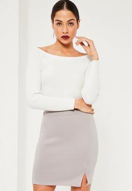 Mini-jupe moulante grise taille haute