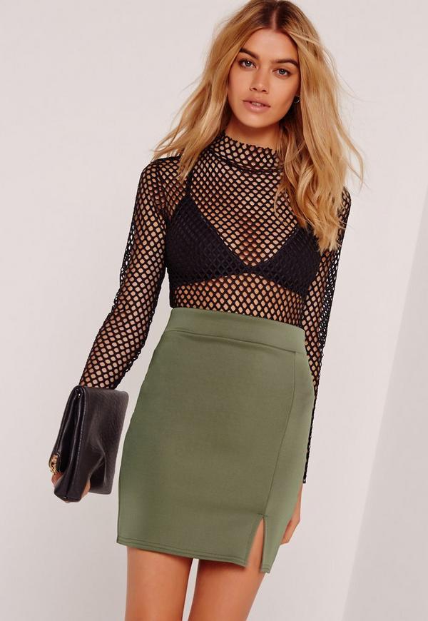 Scuba Split High Waist Mini Skirt Khaki