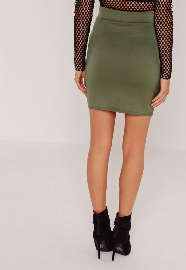 scuba split high waist mini skirt khaki missguided