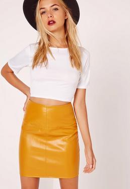 Faux Leather Mini Skirt Yellow