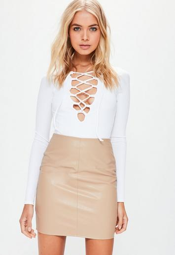 Faux Leather Mini Skirt Tan Missguided