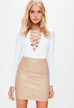 Mini-jupe brun clair similicuir