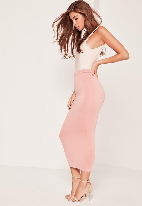 Longline Jersey Midi Skirt Pink