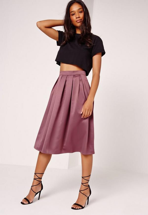 Satin Pleat Waistband Full Midi Skirt Purple